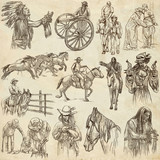Wild West, American frontier and Native Americans - An hand drawn collection. Line art on old paper. - 193856848