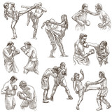 Box. Boxing Sport. Collection of boxing positions of some sportmen, boxers. An hand drawn set on white. Isolated. - 193857063