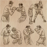 Box. Boxing Sport. Vector collection of boxing positions of some sportmen. An hand drawn set. - 193858866