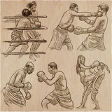 Box. Boxing Sport. Vector collection of boxing positions of some sportmen. An hand drawn set. - 193859045