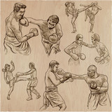 Box. Boxing Sport. Vector collection of boxing positions of some sportmen. An hand drawn set. - 193859225