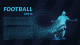 Football of the particles. Soccer is made up of dots and circles. Blue soccer player on dark background. - 193862458