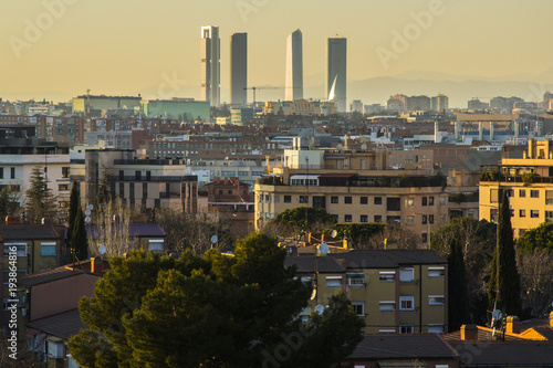Foto op Canvas Madrid Skyline of Madrid (Spain), and its four Skyscrapers