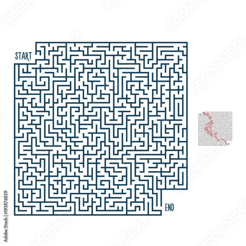 Vector maze with solution. Labyrinth template for entertainment and ...