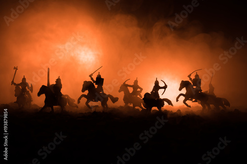 Medieval battle scene with cavalry and infantry Poster