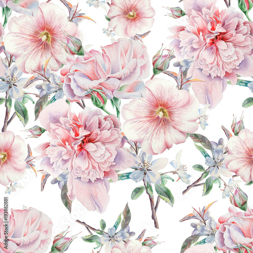 Bright seamless pattern with flowers. Rose.  Peony. Mallow. Watercolor illustration. Hand drawn. - 193882881