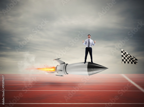 winner-businessman-over-a-fast-rocket-concept-of-business-competition
