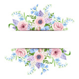 Vector banner with pink, blue and purple flowers. - 193896228