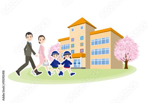 幼稚園の入園式に行く子供と家族のイラスト