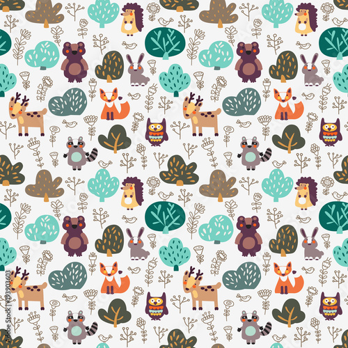 Fotobehang Uilen cartoon Funny animal seamless pattern with floral background made of wild animals in forest: bear, deer, hedgehog, raccoon, fox, rabbit and owl