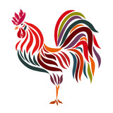 Exquisite weathervane, colorful cock, flowing lines
