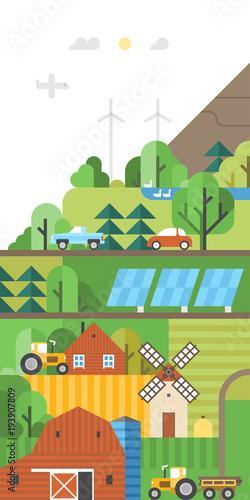 Fotobehang Boerderij Green ecosystem. Agriculture. Use of renewable energy. Farm in the fields. Vertical banner.