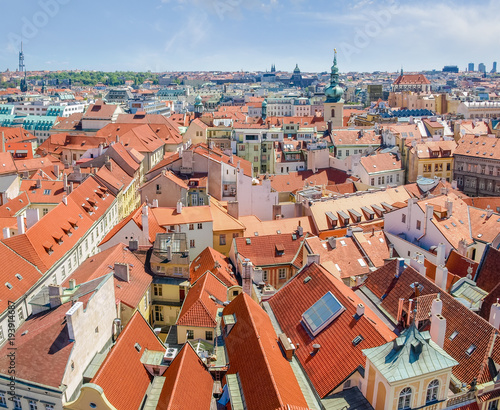 Tuinposter Praag View of rooftops of Old Town from City Hall, Prague