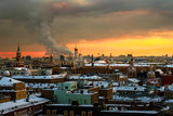 Aerial view of popular landmarks in Moscow, Russia at sunset - 193916275