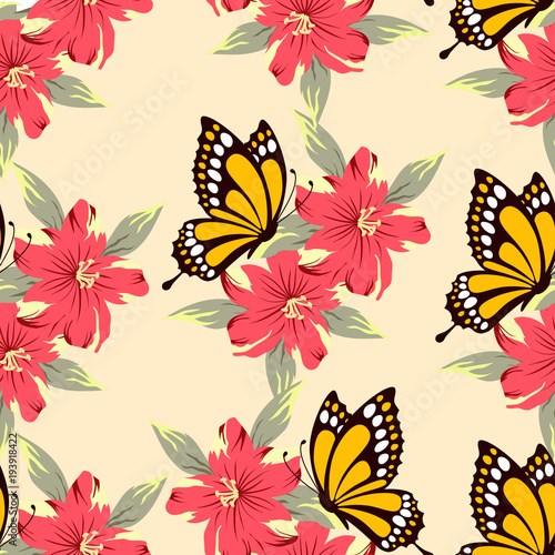 pattern with yellow butterfly