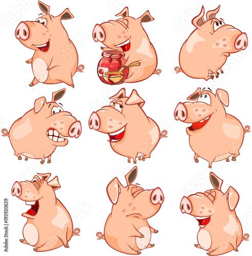 Papiers peints Chambre bébé Set of Cartoon Illustration. Cute Pigs in Different Poses for you Design. Cartoon Character