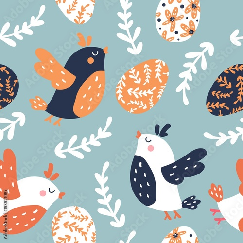 Cotton fabric Seamless easter pattern with eggs and birds
