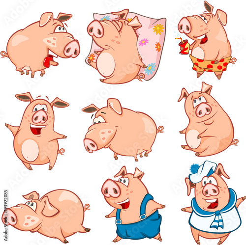 Aluminium Babykamer Set of Cartoon Illustration. Cute Pigs in Different Poses for you Design. Cartoon Character