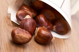 edible chestnut on the table - 193923429