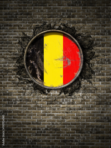 Fotobehang Brussel Old Belgium flag in brick wall