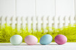 Easter background - colored eggs on green and white background
