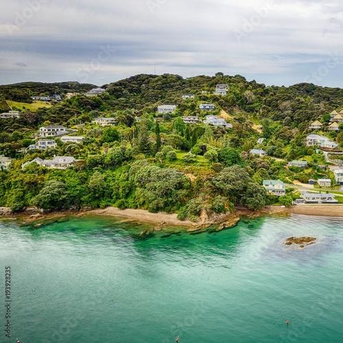 Deurstickers Tropical strand Russell, New Zealand