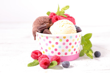 ice cream and berries