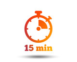 Timer sign icon. 15 minutes stopwatch symbol. Blurred gradient design element. Vivid graphic flat icon. Vector - 193936660