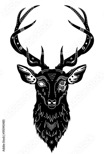 Aluminium Hipster Hert head of a fantastic deer with patterns of a hand drawing, isolated object, vector illustration