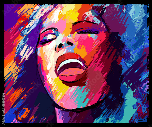 In de dag Art Studio Jazz singer on a grunge background