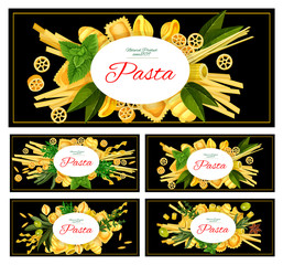 Different Italian pasta vector