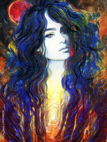 Fotobehang Anna I. red moon. beautiful woman. fantasy illustration. acrylic painting