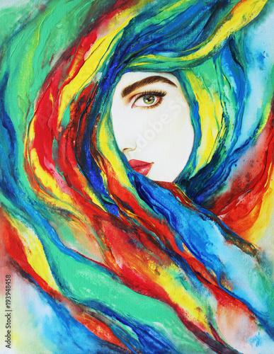 Poster beautiful woman. fashion illustration. acrylic painting