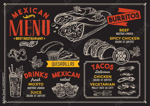 Mexican restaurant menu. Vector food flyer for bar and cafe. Design template with vintage hand-drawn illustrations. - 193949222
