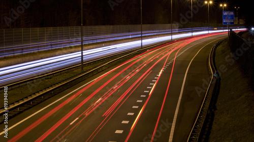 Papiers peints Autoroute nuit Light trails Highway