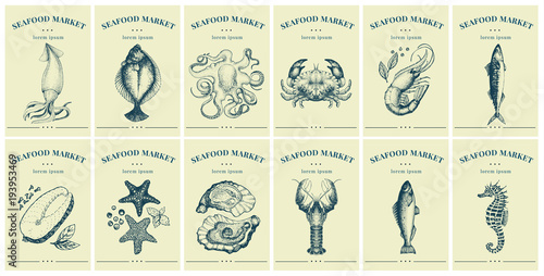 Fototapeta Labels with seafood and fishes. Set templates price tags for shops and markets of organic food. Vector illustration art. Vintage. Hand drawn nature objects.