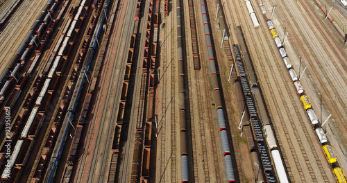 Fotobehang Spoorlijn voie férré en vue aérienne