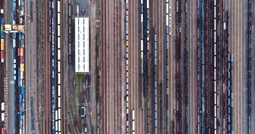 Foto Spatwand Spoorlijn voie férré en vue aérienne