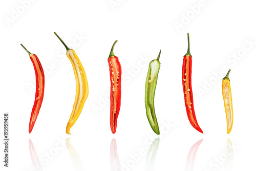 Foto op Canvas Hot chili peppers Half of Chili peppers, chillies, slice, isolated on white background with drop shadow.