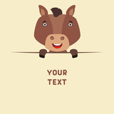 Funny horse looks out from behind the text. Postcard with cartoon horse with a field for your text.