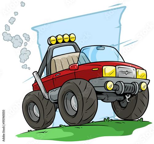 Fotobehang Auto Cartoon red off road monster truck