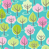 Seamless vector pattern with blooming spring trees.