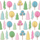 Spring forest. Seamless vector pattern with trees.