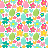 Seamless vector pattern with bright flowers and painted eggs.