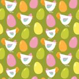Easter background with hens and eggs. Seamless vector pattern.