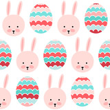 Seamless vector pattern with rabbits and painted eggs.