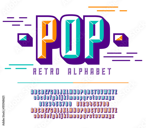 Stylish colorful stylized retro pop font and alphabet with numbers
