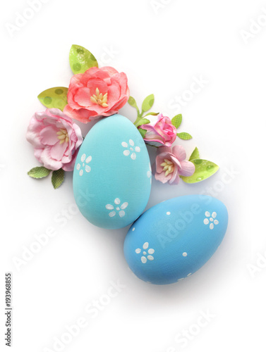 easter eggs and flowers isolated on white background - 193968855