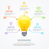 Business Infographic Electric Light Bulb Banner Card. Vector - 193969229