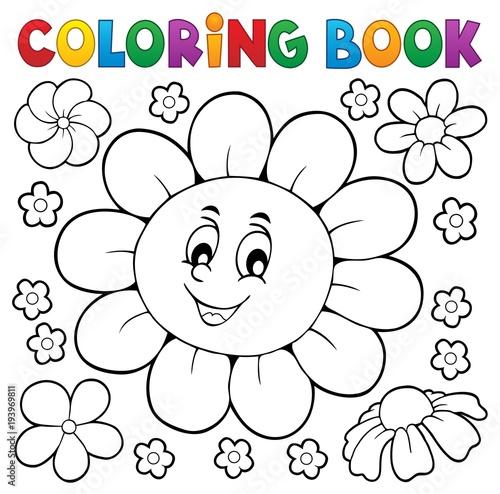 Foto op Canvas Voor kinderen Coloring book happy flower head 1